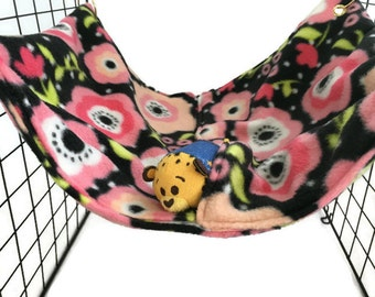 Flowers #6 Rat hammock, flower hammock, black hammock, pink hammock, fleece cage accessories,  pet sleeping bag, rat bed