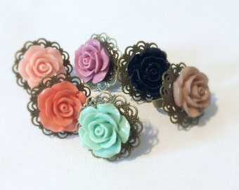 Vintage Style Bronze Rose Ring In Your Choice of Colors, Peach, Plum, Coral, Mint, Black, Brown, Adjustable Bronze Ring, Fits Any Size Ring