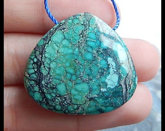 Natural Turquoise Gemstone Pendant Bead,27x30x7mm,9.41g