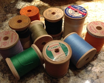Vintage Wooden Spools, Thread Spools, wood spools