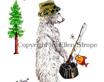 CARD, Father's Day Card, Fishing, dads, Fish, tree, frog, Fishing Pole, Bear Decor, Bears, Drawings, Ellen Strope, Special Occassion cards.