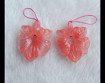 Carved  Volcano Cherry Quartz Flower  Earring Beads,31x24x7mm,13g