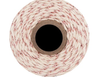 ROSE GOLD Bakers Twine in  Ivory with Rose Gold metallic   -15 yards,  Rose Gold Twine, Rose Gold Wedding