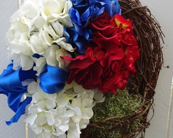 Red White and Blue   Memorial Day Wreath  Military Wreath   4th Of July Wreath    Independence Day Wreath    NOW ON CLEARANCE