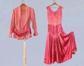 RARE! 1930s Beach Pajamas / 30s PINK Liquid Satin Chinoiserie Jumpsuit and Jacket Set! / Huge Tassel / Super Super Wide Palazzo Leg!