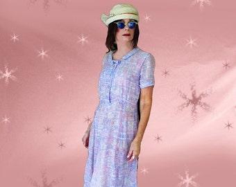Girl Grunge Dress 1950s Vintage Sheer Cotton Day Dress - Fun Lavender Casual