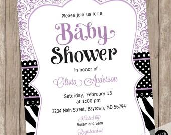 Zebra Damask Baby Shower Invitation, black and lavender purple girl baby shower invitation, zebra invitation, ZDL