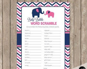 Elephant Baby Shower Pink and Navy Baby Shower Game -  Baby Shower Word Scramble Baby Babble, pne