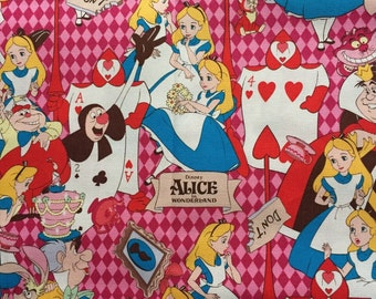 100cm x47cm  Alice in wonderland fabric pink and red color Japanese fabric