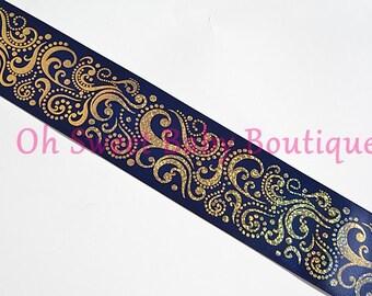 "3"" Navy Gold Holographic Fancy Swirl Ribbon *Cheer Bow Ribbon*"