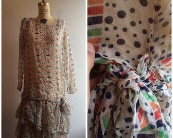 SALE 1920s Geometric Chiffon Dress 20s Flapper Deco Print