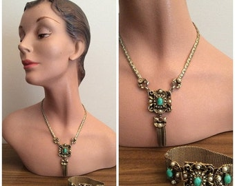 SALE 1950s Gold Green Necklace Bracelet Set 50s