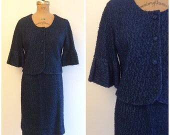 Vintage 1960s Pat Flair Suit 60s Mod Boucle Suit Skirt and Jacket Navy Blue