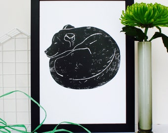 Sleeping Dog Linocut Print