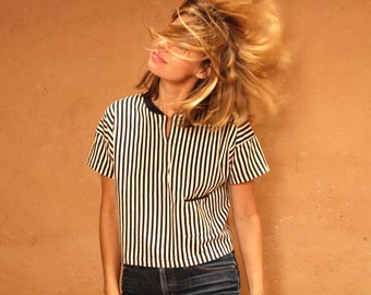 90s striped front pocket black & white OXFORD soft SPRING t shirt top button up thin soft shirt