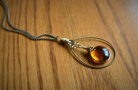Stained Glass Jewelry - Recycled Guitar String Pendant Bronze with Amber Glass