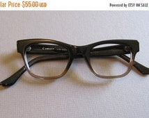 SALE 30% OFF Vintage 1960s Browline Ombre Fade Eyeglasses. 60s Sixties Brown Ombre Vintage Eyewear. Small Medium