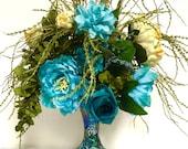 Silk Floral Arrangement Floral Centerpiece Turquoise Blue Sage Green Cream Turquoise Tall Crackle MOSAIC Fluted Vase