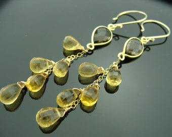 Citrine Smoky Quartz 14K Gold Filled Cascade Earrings