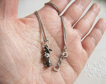 3D Bunny Rabbit sterling silver Necklace, kawaii bunny necklace