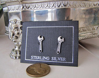 Little crescent wrench Sterling Silver stud Earrings, kawaii
