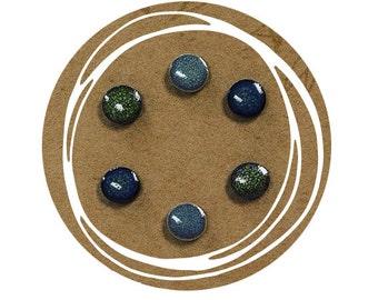 Ceramic Stud Trio no 1 - Deep Blue, Liquid Blue, Jungle Green
