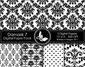 50% off Printable Damask Paper Pack 7 - 5 Digital papers - 12 x12 - 300 DPI