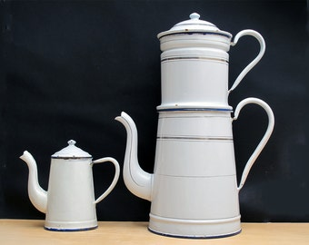 1 Extra Large French Antique Completed White Enamel Coffee Pot, Shabby Chic White and Gold, Enamelware Coffe Pot