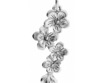 Sterling Silver 20x8mm Cherry Blossom Cluster Charm - 1pc Made in Thailand (4428)/1