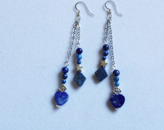 Lapis Heart and Diamond Dangles