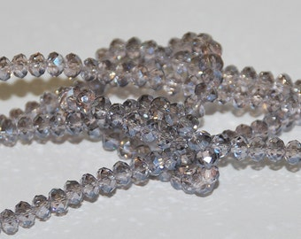 25 pcs 4x3mm Transparent Pale Pink with Grey Hues Rondelle Glass Crystals