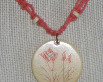 "OOAK Macrame Necklace for Women - ""Simple In Salmon"""