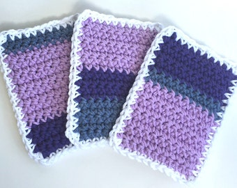 SALE - Crochet Sponge Dishcloth Washcloth - THICK - Set of 3 - Purple, Lavender, Slate Blue - 100% Cotton