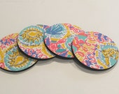4 Coasters made with Lilly Pulitzer fabric Written in the Sun
