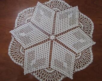 Vintage Crochet Doily Geometric Style