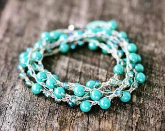Stacking Bracelet, Layered Bracelet, Turquoise Bracelet, Pearl Bracelet, Crystal Bracelet, Blue Bracelet, Dainty Bracelet, Bohemian Bracelet