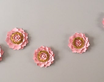 3D Wall  Ranunculus flowers  - pink and gold Ranunculus flower  decal, wall decoration