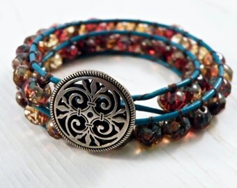 Cranberry Picasso Leather Wrap/ Elegant Turquoise Double Leather Bracelet/Geometric Swirl Button/ Boho Natural Chic/ Ready to Ship