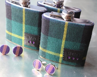 Bespoke tartan set personalised hipflask and cufflink set, groom gifts, best man, father of the bride