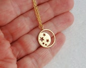 Gold moon and stars necklace, matte celestial small pendant vermeil simple minimal minimalist everyday teens girls women gift gifts