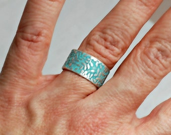 Silver Wide Band Ring, adjustable aqua blue verdigris patina vintage embossed antique wide floral simple birthday girlfriend gift for her