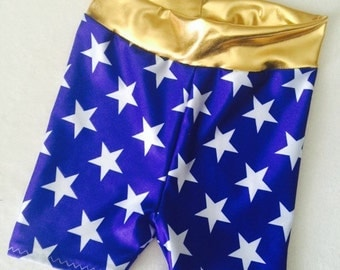 Girls Shorts baby toddler Blue White Stars Wonder Woman costume 6 12 18 24 months 2T 3T 4T 5 6 patriotic Gold yoga waist circle