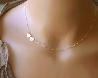 Dainty Heart Necklace, Initial Necklace, Customized Choker, Personalized Necklace, Mothers Necklace, Flower Girl Gift, 14k GF, S/S, RG