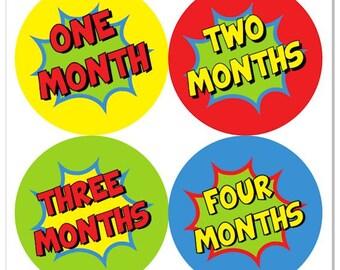Superhero Baby Month Stickers,  Super Hero Monthly Baby Boy Stickers, Baby Month Milestone Stickers Comic Sticker Comic Book