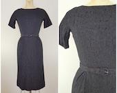 Vintage 1960s L'Aiglon Dress / Black Lace Dress / Cocktail Dress / Small