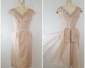 Vintage 1950s Cocktail Dress / Pleated Bustle / Beige / Small Medium