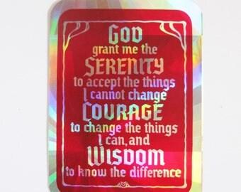 1980s Serenity Prayer sticker prism reflective recovery AA NA Alanon 2 x 2.75