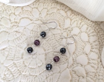 Sterling Silver Earrings with Black Glass Pearls and Purple Glass Beads