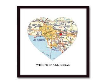 Where it All Began Anniversary Gift, Boyfriend Gift Heart Map Art, Husband Gift, Map Heart 1st Anniversary, Wedding Gift, Long Distance Gift