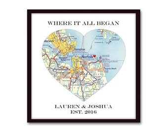 Heart Map Gift for Couples, Husband Gift, Unique Wedding Gift, for Couple, Where it All Began, Anniversary Gift, Engagement Personalized Map